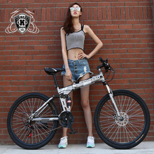 Buy KUBEEN-BEGASOO 26inch folding mountain bike 21 speed double damping bicycle double disc brakes mountain bike for $209.99 in AliExpress store