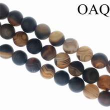 "Natural 8/10/12 brown Grind dull polish stripe carnelian stone Onyx Loose Beads 15"" per for fashion jewelry making(China)"