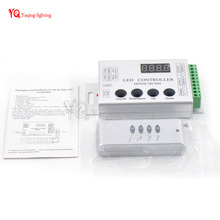 HC008 RF Remote RGB LED Controller control 2048 pixel,133 effect modes,For WS2812B WS2811 WS2801 5V/12V LED Strip light(China)