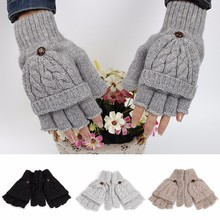 Women woolen solid Winter Soft Fingerless Gloves Mittens Knitted Glove Hand Warmer(China)