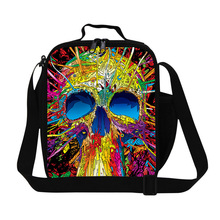 Personalized Skull Print Lunch Bag for teen Boys Adult Thermal insulated Cooler Bags Ghost Lunch Box fashion food container Girl