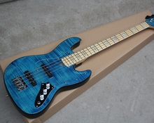 Factory Custom Blue 4 Strings Electric Bass Guitar with Transparent Pickguard,Maple Fretboard,Flame Maple Veneer,be Customized