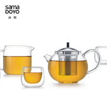 Samadoyo High Quality Glass Tea Service Suit with stainless steel filter 6 pcs Gong Fu Tea Set T109