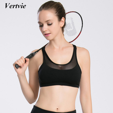 Vertvie Professional Women Sexy Mesh Patchwork Halter Sports Bra Quick Dry Shockproof Cross Strap Push Up Jogging Bras 2017 New