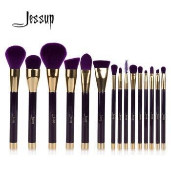 Jessup 15 pcs Violet/Darkviolet Maquillage Pinceaux Poudre Fondation Fard À Paupières Eyeliner Contour des Lèvres Anti-cernes Tache Brosse Outil