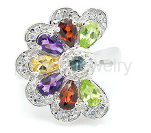 Gem ring Free shipping Per jewelry Natural real amethyst,citrine,peridot,garnet,sapphire 925 sterling silver 0.5ct*7pcs gems