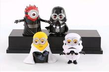 4pcs/set 8cm Minion star war Maul Darth Action Figure pvc  Skywalker  Model  kids Collectibles Christmas gifts Toys