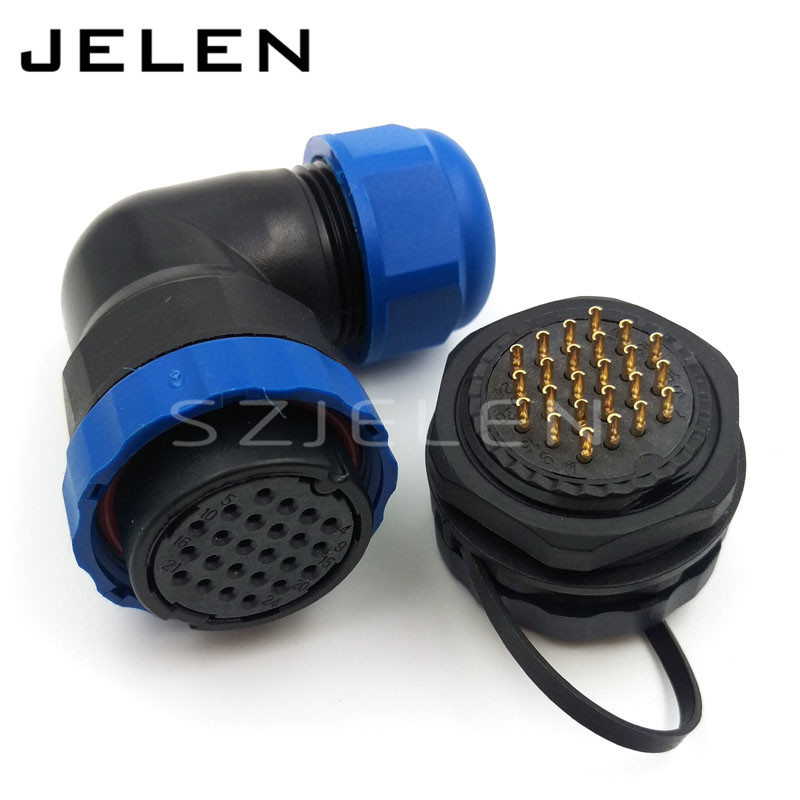 SD28TA-ZM, 24 pin 90 degree elbow Waterproof connector , m28mm,  IP67 Waterproof Plug and socket ,LED Power cable connector<br><br>Aliexpress