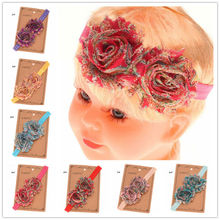 14PCS Shabby Chiffon Flower Headband Cheap Hair Accessory boutique hair bows headbands Cute Flower Hairband Hairbow(China)