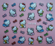 Mix Order: $0.7 XF318 Free Shipping Brand 3D Design Tip Nail Art Hello Kitty Nail Stickers Decals Carving Nail Art Decorations