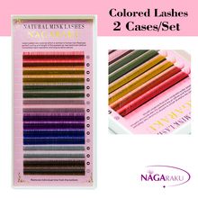 NAGARAKU 2 Cases set 100% Hand made individual lashes colored eyelashes extension with high quality Rainbow Eyelash Extension(China)
