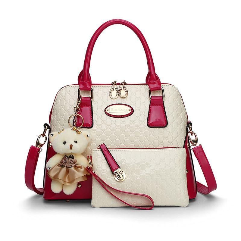 Fashion pu women messenger bags luxury handbags women bags designer ladies casual tote sac a main shell handbag+ purse<br>