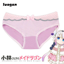 Buy women's Striped Cotton briefs Cute Lolita Girls Bow Mid-waist panties Ladies briefs underwear Miss Kobayashi's Dragon Cosplay