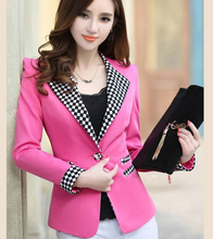 Plus size 2016 Autumn Blazer Women Candy Color Jacket One Button Slim Plaid Feminino Blazer Ladies White Blaser XL XXL T5143(China)