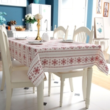 Christmas Tablecloths Linen Red Snowflake Printed Rectangle Table Cover European Style Home Party Festival Decor Table Cloth