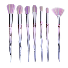 2017 Hot 7pcs/set Stylish Brushes Makeup Powder Foundation Eyeshadow Contour Blush Brush Gradient Color Flower Handle Recommend