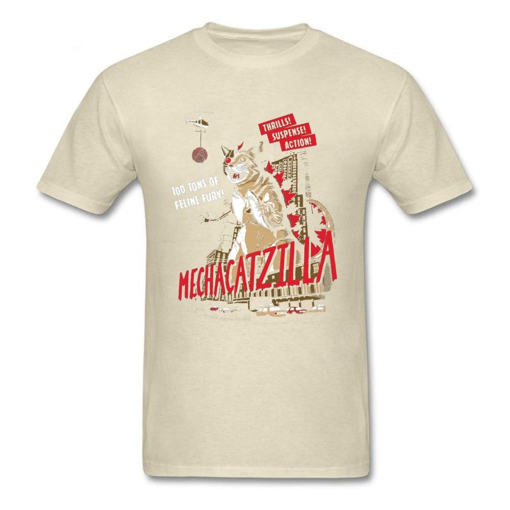 Normal Mecha Catzilla V2 23216 Short Sleeve Lovers Day Tops & Tees Newest Crewneck Cotton Fabric Tops Shirt Men Tshirts Mecha Catzilla V2 23216 beige