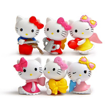New Arrival 6pcs/set Hello Kitty Toys Cartoon Movie Hello Kitty Cat Mini PVC Action Figures Toy Kids Birthday Gifts Wholesale