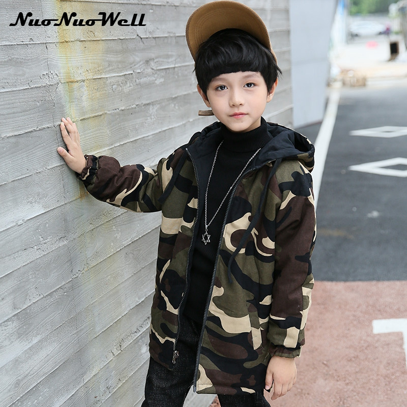NNW Double-side Wear Parka 2017 Winter Teenager Boys Camouflage Jacket Thick Warm Outwear Kids Coat Jacket Baby Boys Clothing <br>