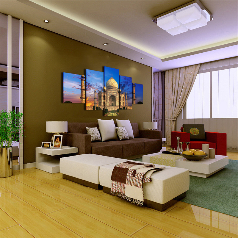Canvas-Wall-Art-Picture-5-Panel-Taj-Mahal-Sky-Landscape-Pictures-For-Living-Room-Bedroom-Prints (1)