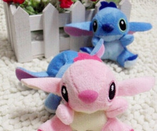 [1Pair Lover] 7*6CM Lilo Stitch Plush Stuffed TOY Small Phone Charm Strap Pendant Lanyard DOLL BAG Key Chain TOY Bouquet TOY