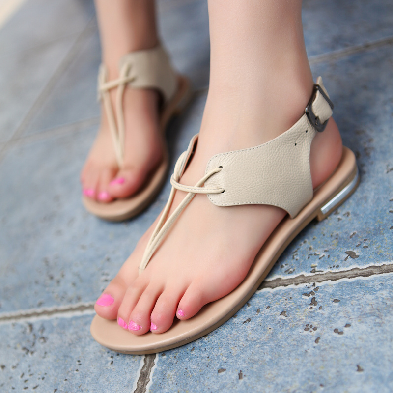 Concise Style Sandals Buckle Flip Flop Summer Shoes Women Outdoor Casual Dress Open Toe Less Platform Flat Shoes Euro Size 34-39<br>