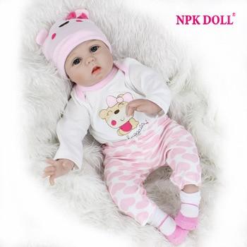 """Npkdoll 55 cm de silicona suave muñecas reborn baby 22 """"juguete Para Niñas Bebé Recién Nacido Regalo de Cumpleaños Para Niños Educación Temprana de Acostarse"""
