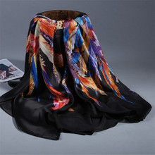 [Ode To Joy]2017 Luxury Brand Silk imitation Scarf bandana Smooth Printing Shawls and Scarves Women Scarf With Dress 140*140cm