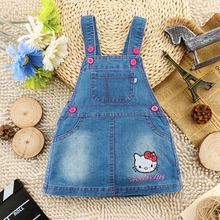 1-4T Baby Girls Jeans Dress Toddler Overalls Kids Clothes Children Denim Summer Autumn Clothing Hello Kitty Out Wear Clothes