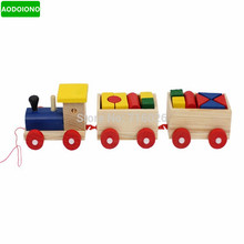 Train Toy Stacking Wooden Trains Blocks Toy Educational Environmental Protection Train Vehicle Tractor Models & Building Toys(China)