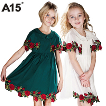 A15 Kids Girls Boutique Dress 2017 Summer Toddler Princess Flower Dress for Weddings Baby Girl White Party Dress 8 10 12 14 Year(China)