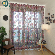 Sinogem classic flower curtain window screening customize finished products purple/yellow tulle sheer curtain for home(China)