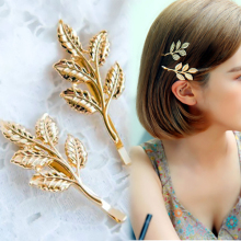 Hot 1 Pc Women Girl Trendy Popular Charming Golden Leaf Design Hairpin Hair Clip(China)