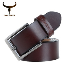 COWATHER 2017 men belt cow genuine leather luxury strap male belts for men new fashion classice vintage pin buckle dropshipping(China)