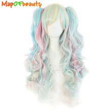MapofBeauty long wavy cosplay wig 65cm purple pink ombre 11 colors two ponytails Synthetic hair Heat Resistant wigs for women(China)