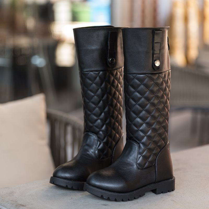 2017 Winter New Kids Girls High Boots Leather Knee High Snow Boots Fashion Knight Long Boots Girls Elegant Party Shoes<br>