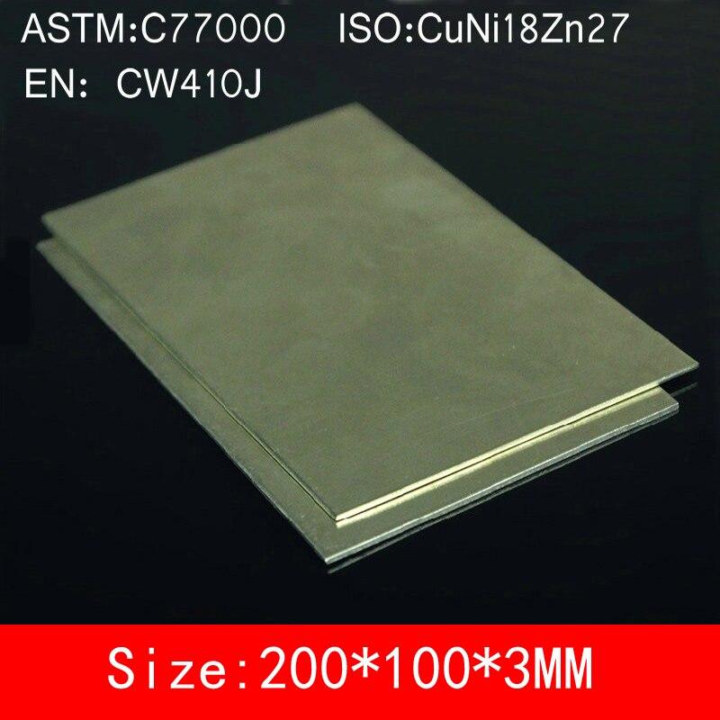 100*200*3mm Cupronickel Copper Sheet Plate alloy Board of C77000 CuNi18Zn27 Cu55% Ni18% Zn27% BZn18-26 ISO Certified<br>