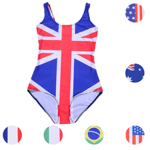 UK Union Flag Monokinis One Piece Sexy Women Swimwear Colorful National Flag Bathing Suit Surf Sport Beachwear Backless Bodysuit