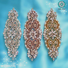 (30pcs)Wholesale bridal beaded sewing silver crystal rhinestone applique for wedding dresses DIY iron on WDD0230(China)
