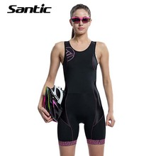 Santic Sleeveless Cycling Jersey One-pieces Triathlon Women Quick Dry Breathable Cycling Clothing Bike Skinsuit Maillot Ciclista