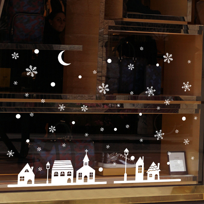 Snowy night village electrostatic Sticker Window Glass Christmas Wall Stickers Home Decals Decoration New Year art wallpaper