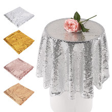 80cm Sequin Tablecloth Round Designed Festival Gold Silver Champagne Decoration