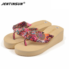 NEW Summer Women shoes Bohemia Flower Flip Flops Wedge Heel Slippers Platform Sandals Classics Beach Woman Shoes