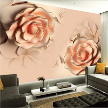 beibehang Custom photo wall paper stereoscopic Romantic Pink Rose Flower marriage badroom TV backdrop living room wall painting(China)