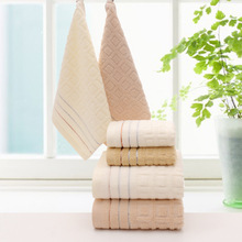 free 3pcs/set 100% cotton plaid towels set soft beach bath towel face cheap towel brand cotton towel set 70*140 34*74cm 34*34cm(China)