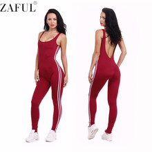 ZAFUL New Summer Sport Yoga Set Sexy U-neck Backless Women Closed-Fitting Jumpsuit Gym Running Sport Wear Suit Workout Clothes(China)