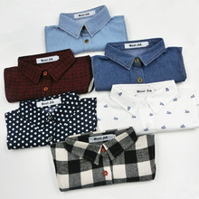 Children 's Fake Detachable Collars Thick Cotton Shirt Collar Boys and Girls Baby Cowboy Plaid Shirt False Collar(China)