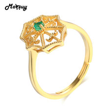MoBuy MBRI050 Spider Net Natural Gemstone Emerald Adjustable Ring 925 Sterling Silver 14K Gold Plated Fine Jewelry For Women