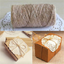 1Roll 33M Natural Burlap Hessian Jute Twine Cord Hemp Rope String Rustic Wrap Gift Packing String Wedding Decoration