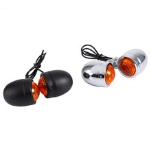 1 Pair Chrome Universal Bullet Motorcycle Turn Signal Indicator Amber Blinker Lights Lamp Motocicleta(China)